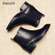 Vianoch New Fashion Ankle Boots Women Casual Black Heel Shoes Woman Fall Autumn Winter Boots Shoe Pointed Toe Lady  wo1808149 haraval handmade winter woman long boots luxury flock round toe soft heel shoes elegant casual warm retro buckle solid boots 289