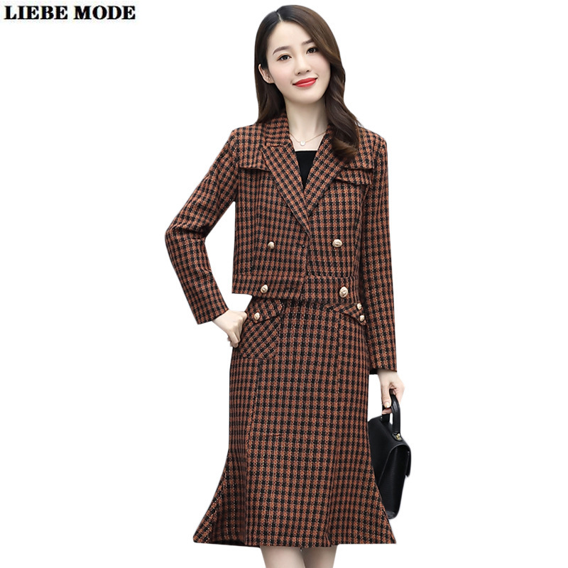 Women Office Suits Elegant Plaid Double Breasted Cropped Jacket Coat and Knee Length Skirt 2 Piece Skirt Blazer Set Work Outfit