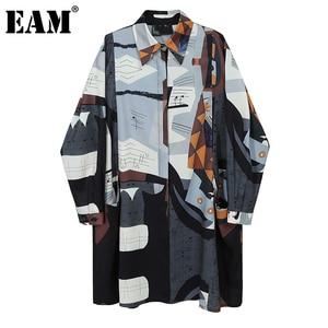 [EAM] Women Pattern Printed Big Size Long Shirt Dress New Lapel Long Sleeve Loose Fit Fashion Tide Spring Autumn 2020 1DA253