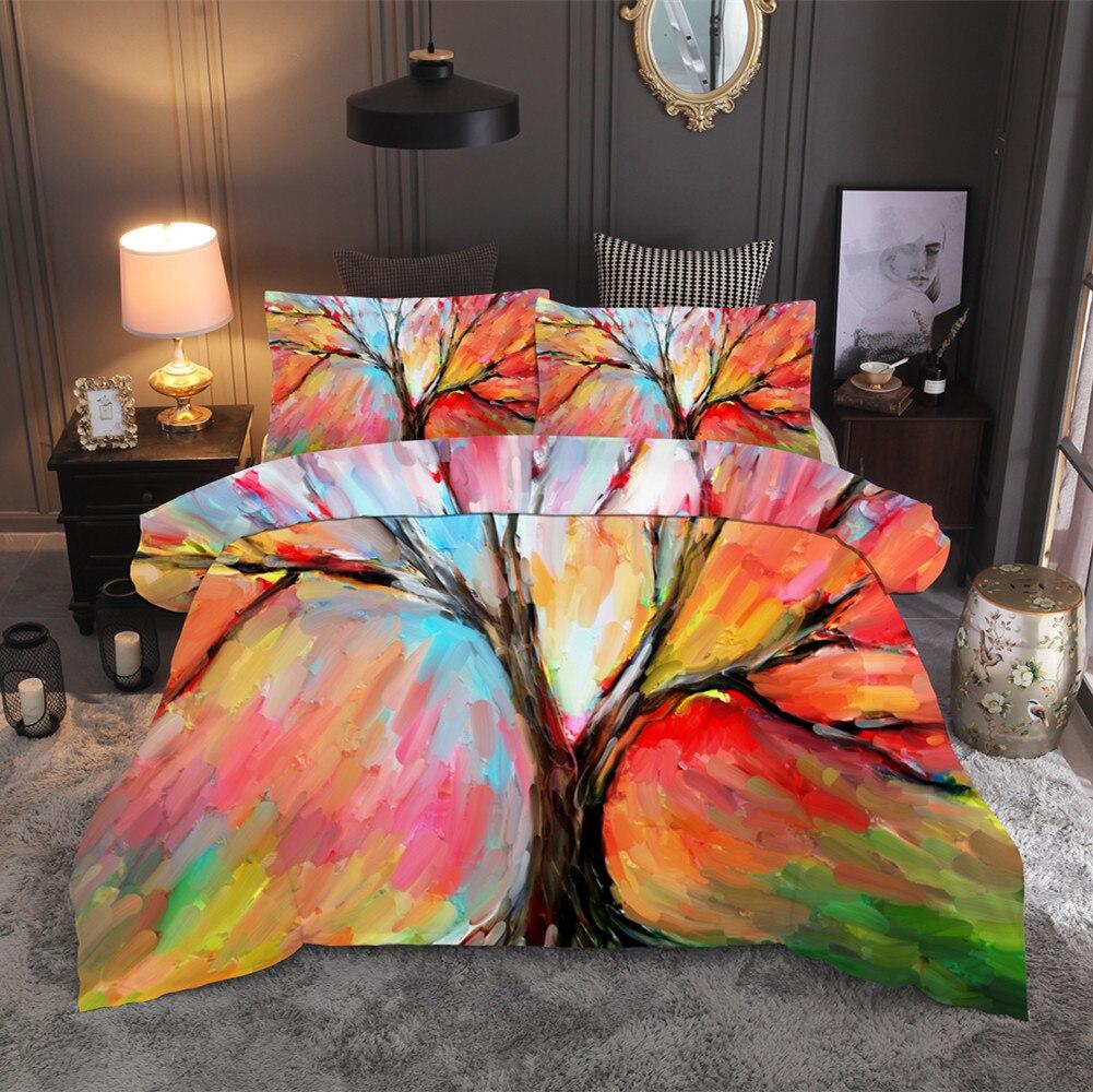Aquarelle peinture à l'huile ensembles de literie paysage arbre housse de couette ensemble reine roi housse de couette literie (pas de feuille pas de remplissage)