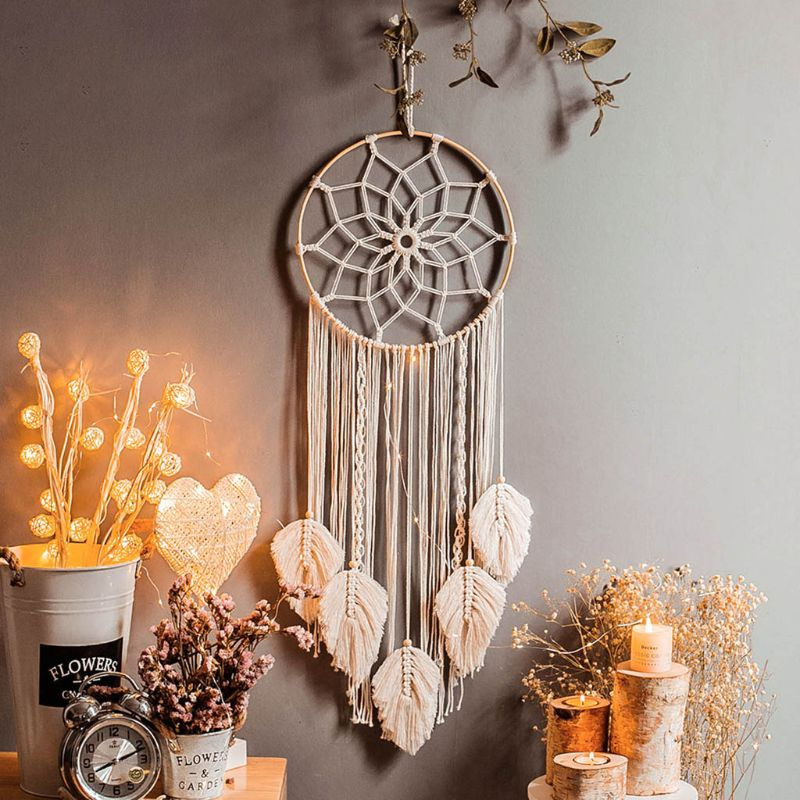 1PC Newborn Baby Toys Nordic Bamboo Ring Dream Catcher Cotton Thread Woven Tapestry Bohemian Home Wall Decor Infants Bed Hanging