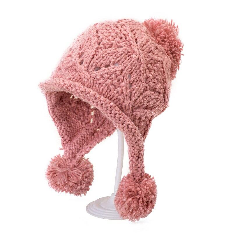 Cute WomenS  Toddler Girls Baby Winter Crochet outdoors Hat Beanie Hairball Cap warming woolen cap