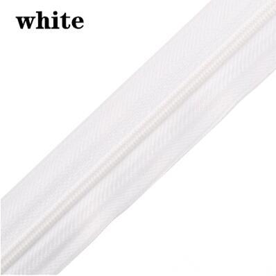 5 м длинная молния нейлон 3# пододеяльник подушка одеяло невидимая молния двойная молния черный и белый - Цвет: white