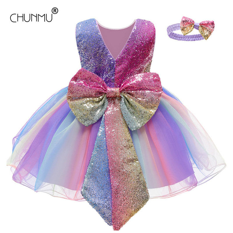 Платье для маленьких девочек, расшитое блестками платье для крещения с единорогом для девочек 1 год, вечерние платья на день рождения, Сваде...