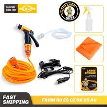12V Portable Car Washer Gun Pump High Pressure With Towel Applicator Spray Can Washing Machine Car cleaning Kit For Car Wash