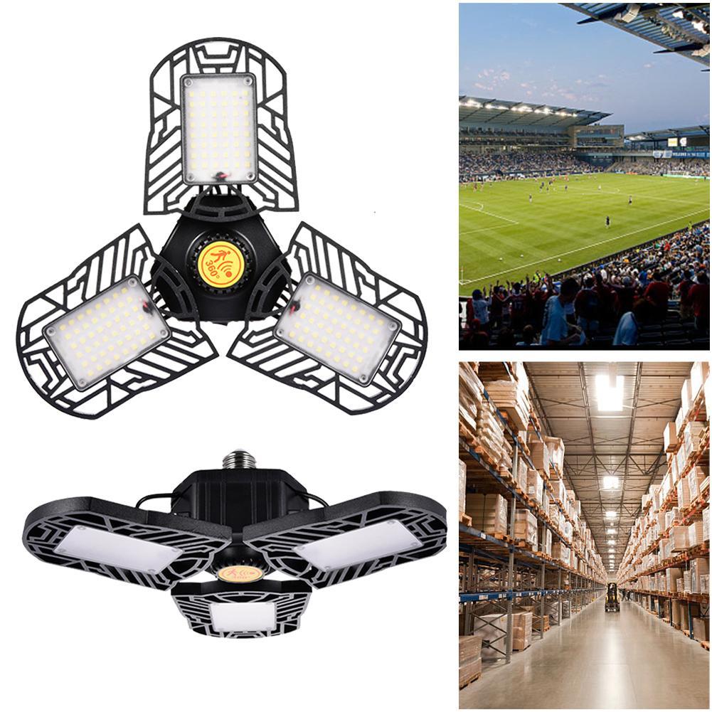 60W Sensor LED Garage Light E26/ E27 Folding Ceiling Lamp Taller Lights For Home Warehouse Studio Workshop Wine Cellar Lighting