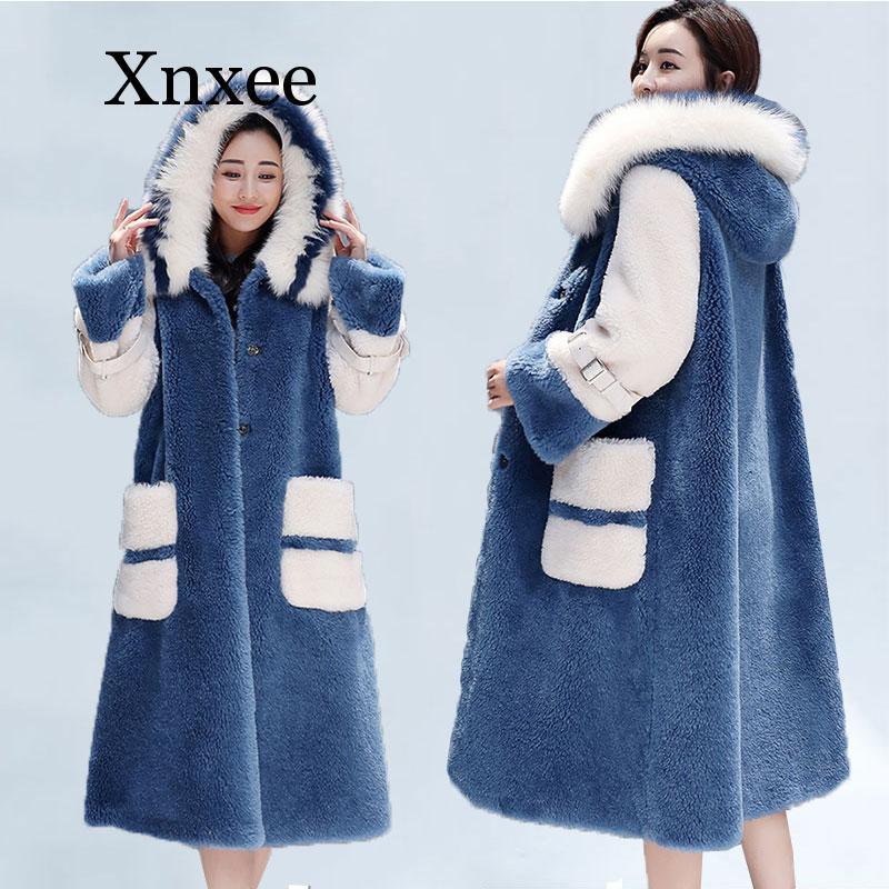 Manteau de fourrure de Faux lapin Long col de fourrure manteaux d'hiver femmes pardessus en vrac de luxe épais chaud surdimensionné femme veste en peluche 3XL