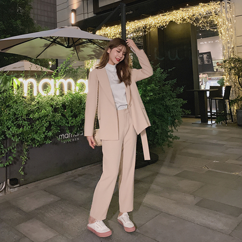 High Quality Women's Suits Pants Suit Girl 2019 Autumn New Slim Solid Color Women's Jacket Blazer Office Trousers Two-piece Set