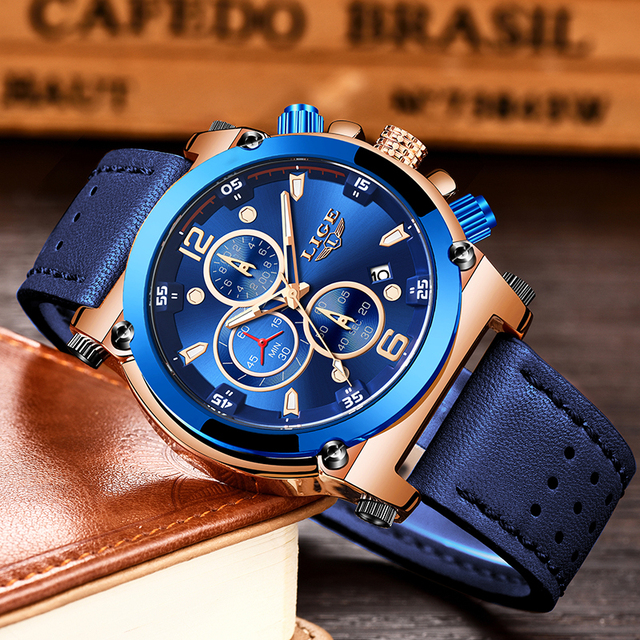 Relogio Masculino LIGE Mens Watches Top Brand Luxury Men's Fashion Business Waterproof Quartz Watch For Men Casual Leather Watch