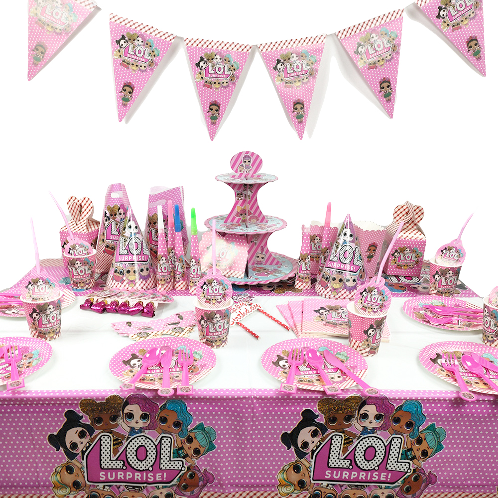 Birthday Party Original LOL Dolls Surprise DIY Pink Theme Cake Topper Plate Fork Cartoon Lols Doll Toy Christmas Decoration Gift