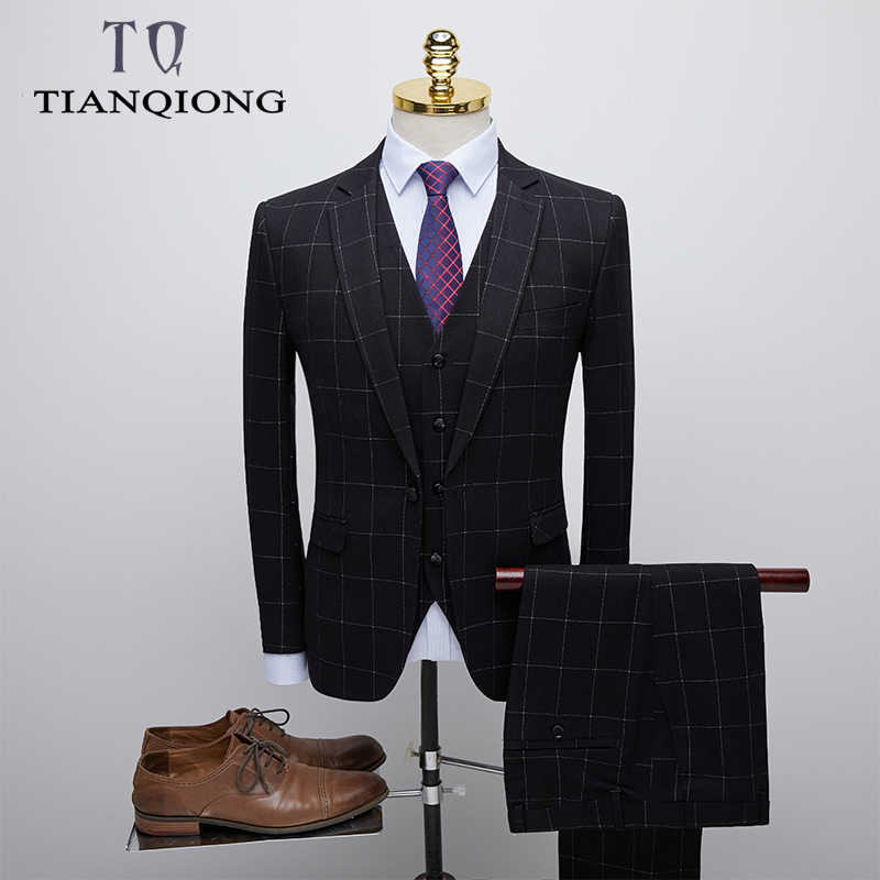 TIAN QIONG Men Black Plaid Suits for Man Slim Fit 3 Piece Groom Wedding Suit Brand Clothing Mens Business Suits High Quality