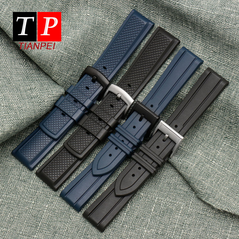 Waterproof silicone watch strap for CASIO/<font><b>Seiko</b></font>/Fossil fluorine rubber sport watch band <font><b>20mm</b></font> 22mm replace wristwatches band men image