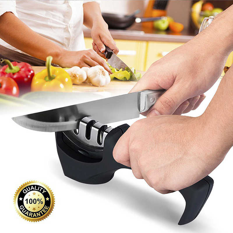 Aiguisoir de couteaux en acier inoxydable, 3 étapes outil de cuisine professionnel pierre à aiguiser couteaux de broyeur pierre à aiguiser diamant