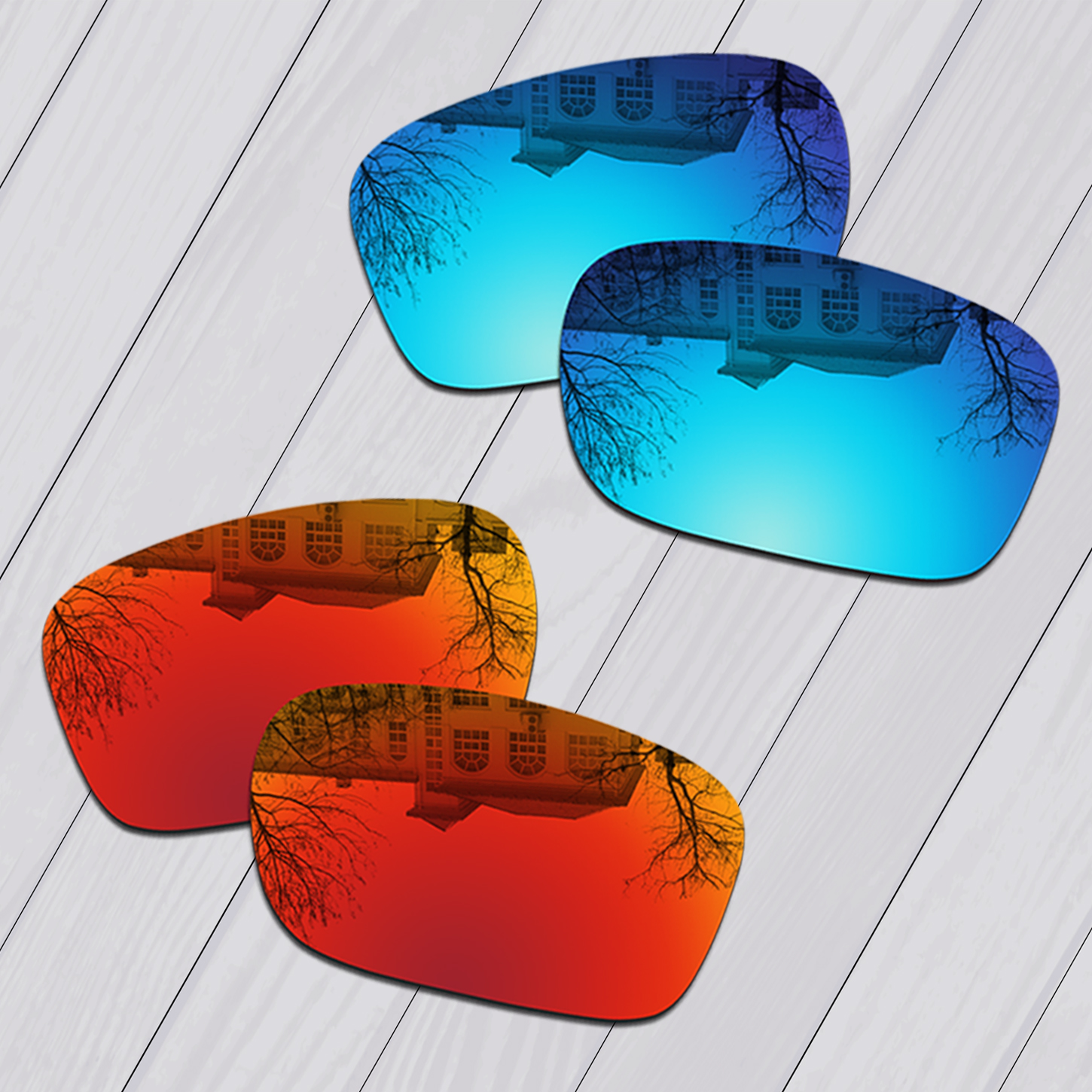 E.O.S 2 Pairs Ice Blue & Fire Red Mirror Polarized ReplacementLensesforOakleyBig Taco OO9173 Sunglasses