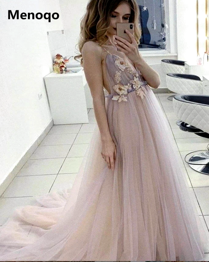 Charming Floral Evening Gowns Tulle Spaghetti Straps V Neck Evening Dresses Backless Long Flower Floor Length Prom Dresses
