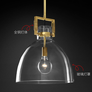 Image 3 - الأمريكية بسيطة النحاس قلادة LED أضواء بار إضاءة المطعم الحديثة الزجاج غرفة نوم أضواء الفاخرة السرير معلقة مصابيح