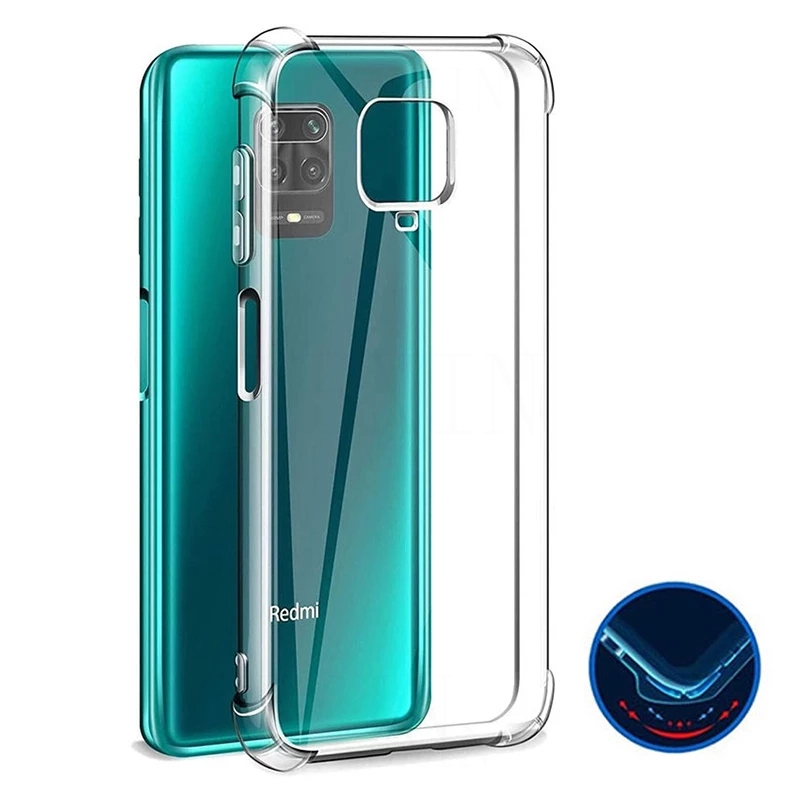 Shockproof Silicone Case For Xiaomi Redmi Note 10 9 8 7 Pro Max 9A Transparent Case For Redmi Note 8 9 Pro POCO M3 X3 MFC Cover