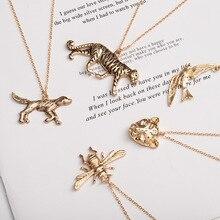 Собака Тигр Обезьяна Слон пчела птица кролик леопард ожерелье в виде животного подвески подарок с домашним любимцем металлические украшения