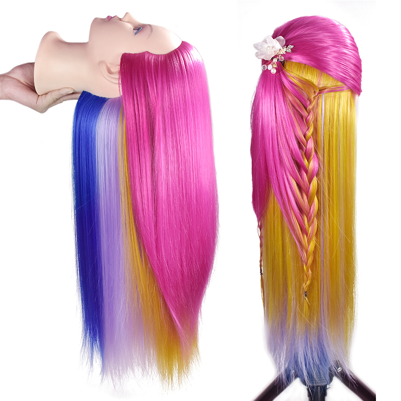 26inch Professional Training Heads With Colorful Hairs Practice Hairdressing Mannequin Dolls Hair Styling Maniqui Tete For Sale