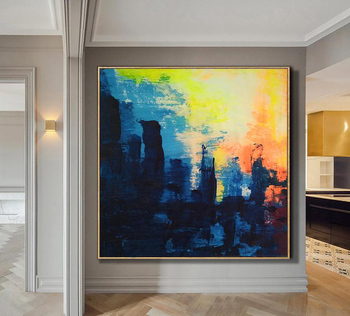 Oversize Abstract Painting On Canvas Blue Painting Modern Art Abstract Oil Painting On Canvas Wall Art For Living Room Sunset