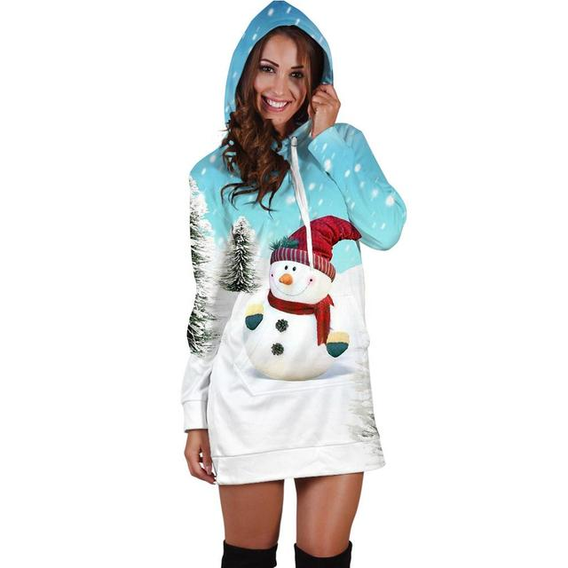 2019 autumn and winter polar sportswear high quality women's Harajuku printed snow snowman kawaii dress