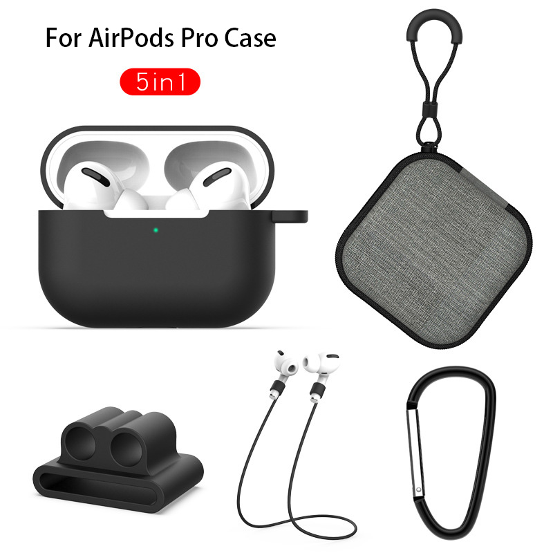 Silicone <font><b>Case</b></font> For Apple <font><b>Airpods</b></font> Pro Earphone Protective <font><b>Case</b></font> For <font><b>AirPods</b></font> Pro <font><b>5</b></font> <font><b>in</b></font> <font><b>1</b></font> Wireless Bluetooth Headset Soft Cover Bag image