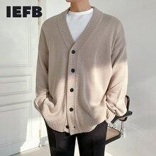 IEFB – Cardigan coréen à boutonnage simple et col en V pour hommes, pull tricoté, vêtements d'extérieur tendance, beau, printemps automne, 9Y4499