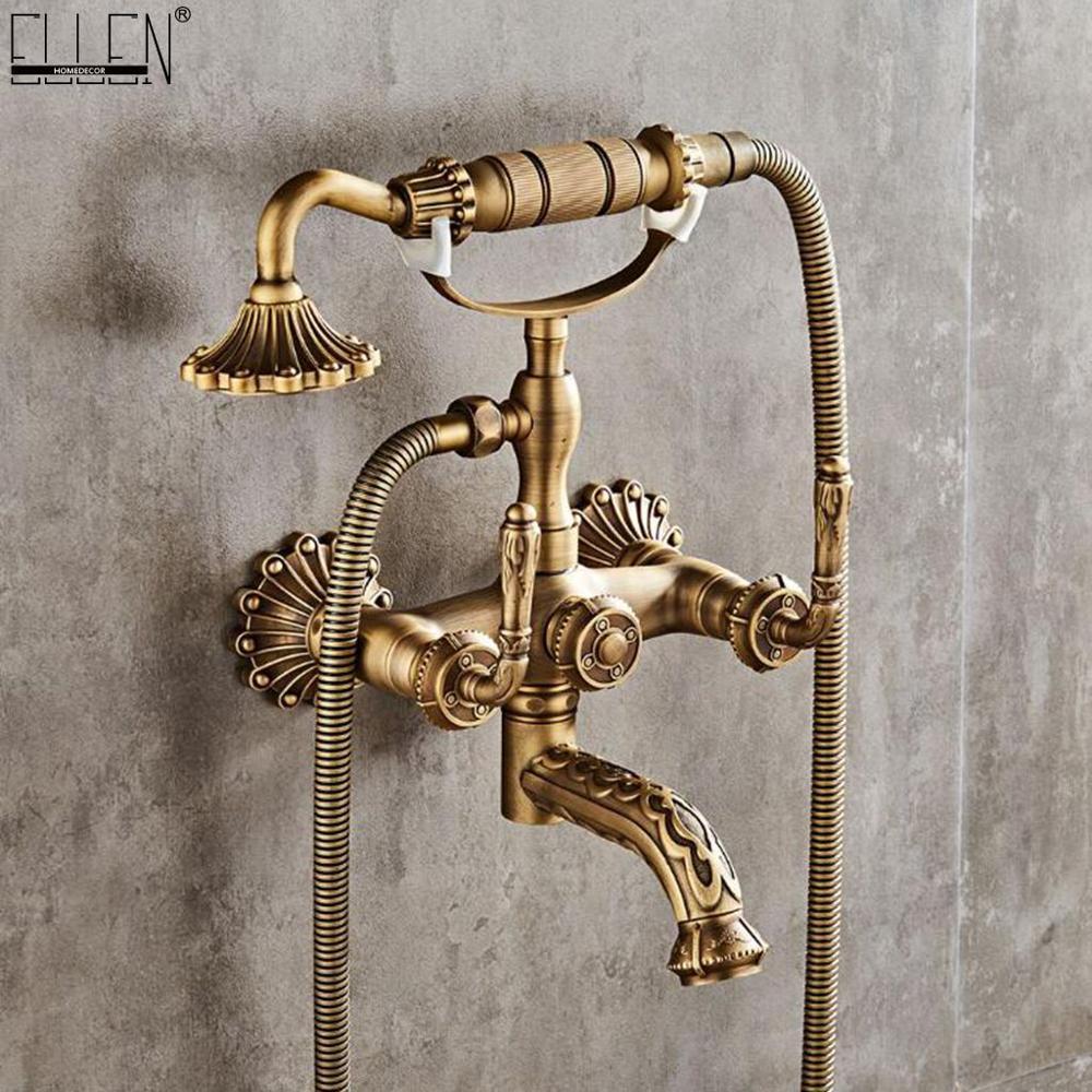 Antique Bronze Bath Faucet Hot Cold Water Mixer Crane Wall Bath Faucets Carving Luxury Bronze Shower Faucet ELM722