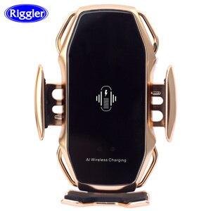 Image 1 - Dwupunktowa inteligentna indukcyjna bezprzewodowa ładowarka uchwyt samochodowy 10W szybki uchwyt ładowania dla samsung S10/10 +/9/8 Note9 Iphone XS XR XS MAX Qi