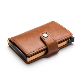 BISI GORO Casual Card Holder Hasp Protector Smart Case Metal RFID Aluminum Box Slim Men and Women ID PU Leather