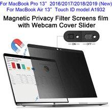 """Магнитный фильтр конфиденциальности экрана Защитная пленка с веб-камерой крышка ползунка для /// MacBook Pro 13, за счет сканера отпечатков пальцев Air 1"""" A1932"""