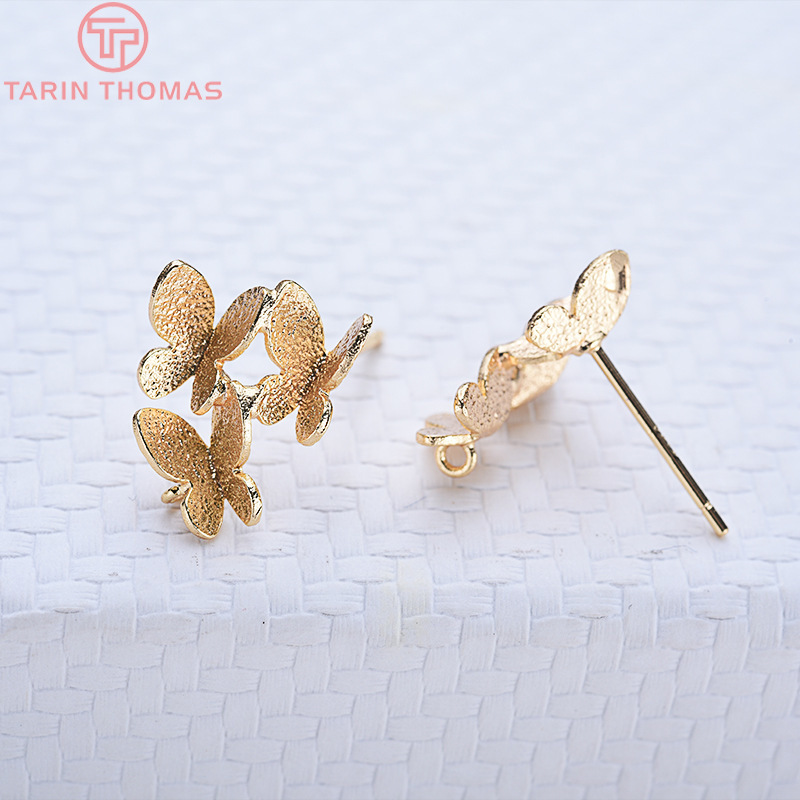 6PCS 14x12MM 24K Gold Color Brass Three butterflies Stud Earrings High Quality Diy Jewelry Findings Accessories