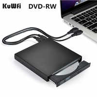 DVD ROM Externe Optische Stick USB 2.0 CD/DVD-ROM CD-RW Player Brenner Slim Reader Recorder Tragbare für Laptop windows Macbook