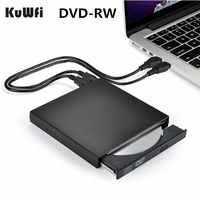 Dvd rom externo unidade óptica usb 2.0 cd/DVD-ROM CD-RW leitor queimador leitor fino gravador portátil para computador portátil windows macbook