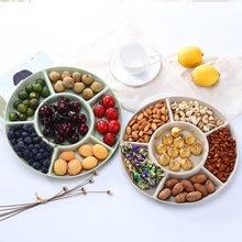 1 pc 6-compartimento bandeja de armazenamento de alimentos frutas secas lanche placa aperitivo servindo prato para festa doces pastelaria nozes prato