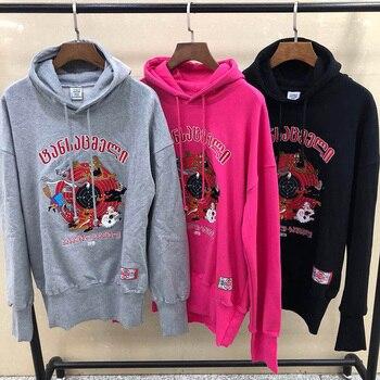 Casual Vetements Hoodies Men Women Black Red Gray Cartoon Monster Embroidery Autumn Winter Vetements Pullover Sweatshirts