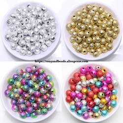 Mixed Stardust Acrylic Round Ball Spacer Beads Charms Findings 4 6 8 10 12 MM Pick Size For Jewelry Making AC1