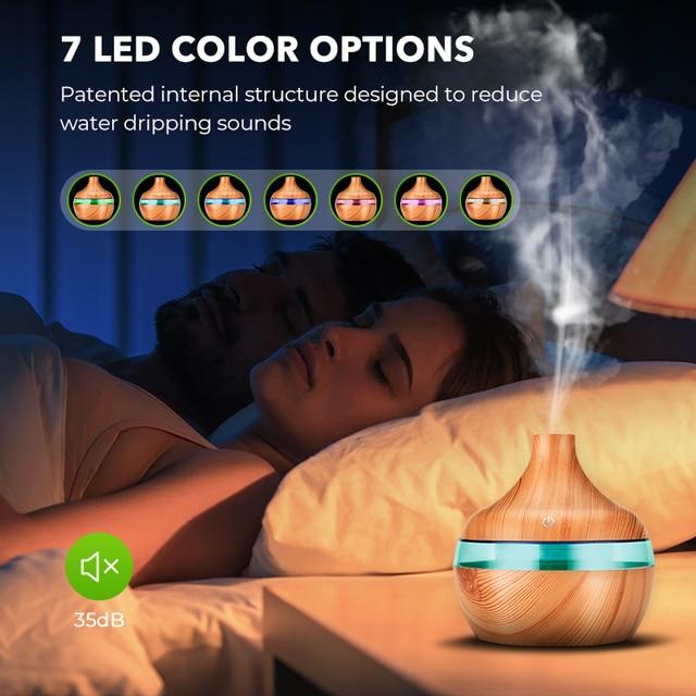 Saengq umidificador elétrico essencial aroma difusor de óleo ultra-sônico madeira grão umidificador ar usb mini névoa fabricante luz led 3
