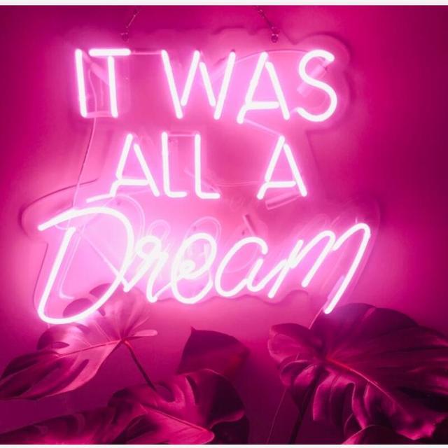 Nowy zwyczaj to wszystko było marzenie niebieski biały czerwony różowy głęboki błękit fioletowy turkusowy zielony żółty szklana lampa neonowa na piwo do baru