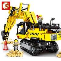 SEMBO Block Technic Expert Technique Mechanical Excavator Construction Model Building Blocks Sets Bricks Toys for Children Boys