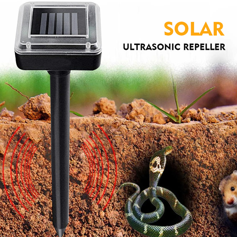 Ultrasonic Rat Repeller ABS Insect Outdoor Animal Garden Black Eco Friendly Rodent Control Solar Energy Gopher Yard