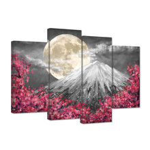 Snow mountain and moon posters prints bedroom 4 pieces canvas
