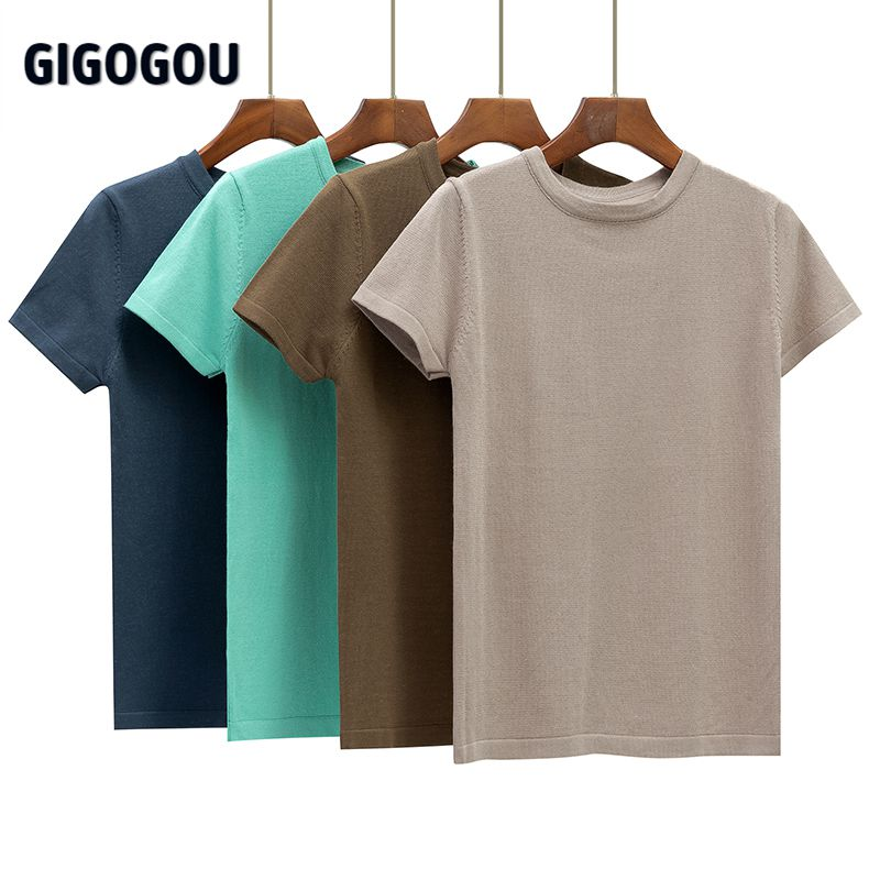 GIGOGOU Basic Cotton Summer T Shirt Women Knitted Short Sleeves Tee Shirt High Elasticity Breathable O Neck Female Top Tshirt|T-Shirts| - AliExpress
