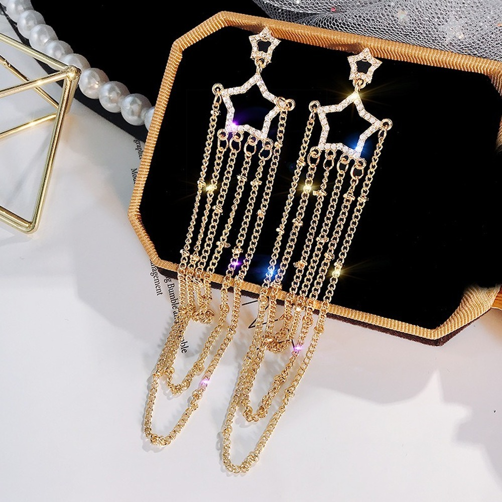 2020 Korean Earings Crystal Pearl Tassel Earrings Geometric Pendant Bride Wedding Jewelry Gift Earrings For Women