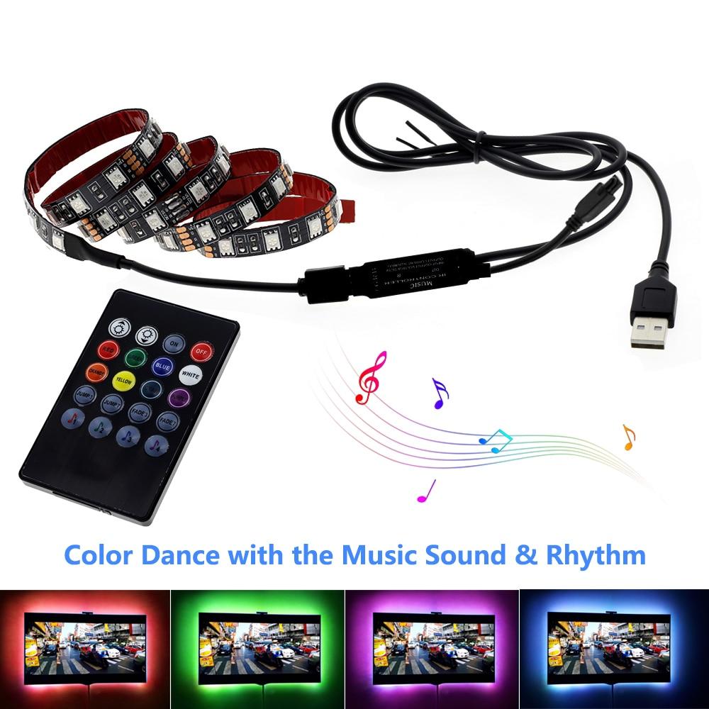 Image 2 - LED USB lumière de bande 5050 RGB changeable Diode Bande 5V 50CM 1M 2M 3M 4M 5M DIY flexible RGB LED Ruban pour PC TV écran rétro éclairage    -