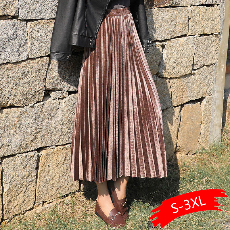 Plus Size Autumn Winter Women Gold Velvet High Waist Skirt Long Metallic Maxi Pleated Midi Skirt Casual Small Swing Skirt Faldas