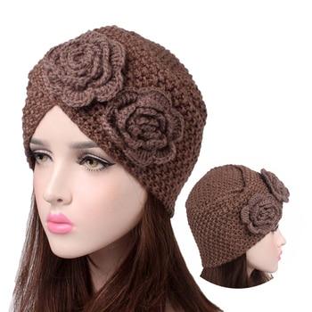 Trendy flowers wool muslim hat handmade knitted hijab bonnet India turban cap for women ready to wear caps turbante mujer - discount item  31% OFF Muslim Fashion