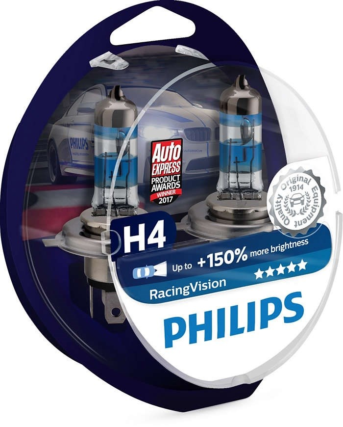 Lamp H4 12V 60/55W (P43t) (+ 150% Light) Racing Vision (2 Pcs) PHILIPS 12342RVS2