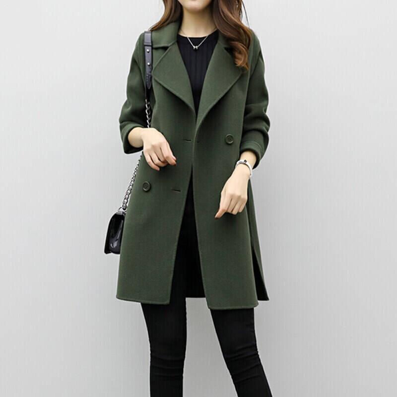 2019 Winter Coat Women Plus Size Korean Fashion Belt Womens Coats Slim Artificial Wool Outerwear Warm Winter Jacket For Female 7