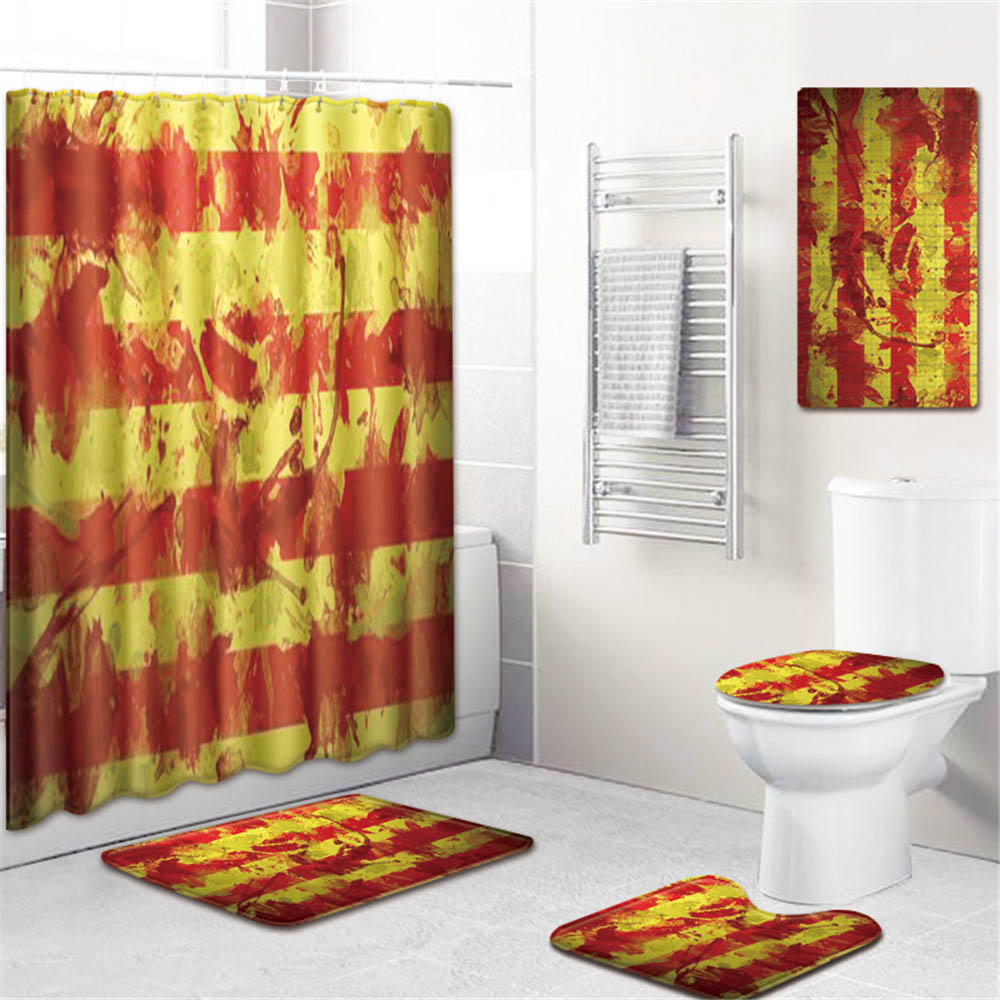 5 шт. 3d печать ванная душевая занавеска водонепроницаемый полиэстер Ткань моющийся ванный занавес экран крючки нескользящий коврик для ван... - 3